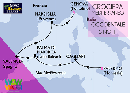 HOLIDAY BREAKS MSC DIVINA - CROCIERA MEDITERRANEO OCCIDENTALE DA PALERMO A GENOVA - OFFERTA MSC CROCIERE 2019